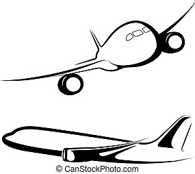 Vector drawn passenger plane, isolated on white background.