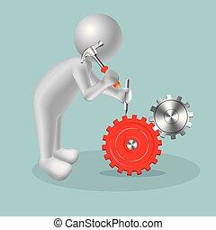 Vector drawn people symbol, Repair work is in progress. Image uses a grid gradient.