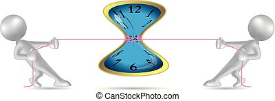 Vector drawn people symbol,tug of war, the clock is in the middle.
