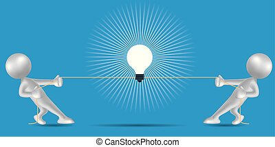 Vector drawn people symbol,tug of war, the lamp is in the middle.