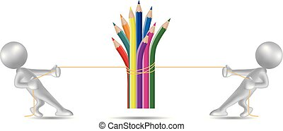 Vector drawn people symbol,tug of war, the pencil is in the middle.