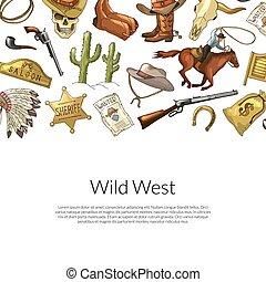 Vector drawn wild west cowboy