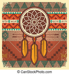 Vector dream catcher poster with ethnic ornament