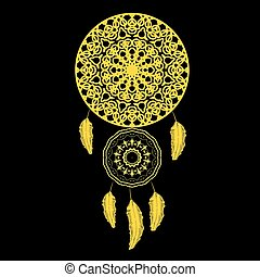 Vector Dream Catcher Silhouette with Feathers