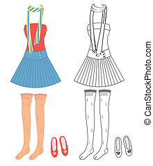 Vector dress on white. Fashion clothes for woman