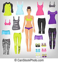 Vector dress up paper doll with an assortment of sports and...