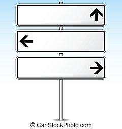 vector, drie, richtingen, roadsign