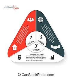 vector, driehoek, drie, presentatie, zijn, opties, ontwerp, options., web, mal, tabel, infographic, zakelijk, gebruikt, groenteblik, getallen