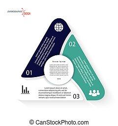 vector, driehoek, drie, presentatie, zijn, opties, ontwerp, options., web, mal, tabel, infographic, zakelijk, gebruikt, groenteblik, concept, getallen