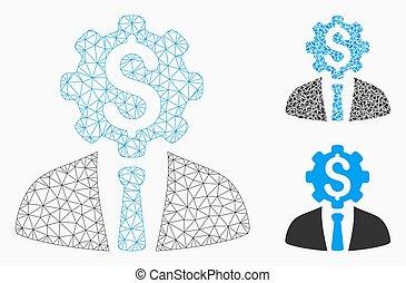 vector, driehoek, tandwiel, kantoor, karkas, dollar, arbeider, maas, model, mozaïek, pictogram