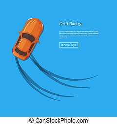 Vector drifting car top view with tire tracks illustration....