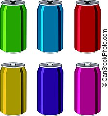 vector drink tin cans, aluminum colorful containers