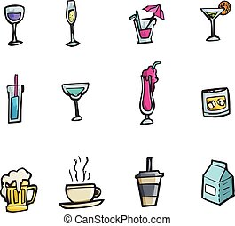 Vector drinks and cocktails icon set