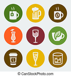 Vector drinks color icons set