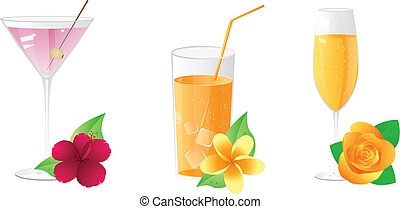 Vector drinks with flowers - Martini, juice, champagne with...