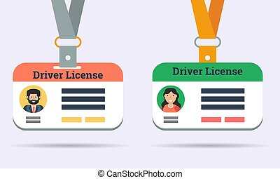 Vector drivers license of man and woman isolated