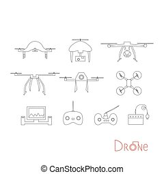 Vector drone icons on a white background. Digital flying copters with action cameras.