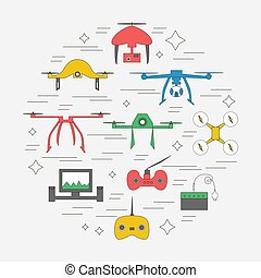 Vector drone icons on a white background.