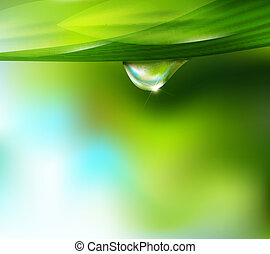drop of dew - Vector drop of dew on a background of sky and...