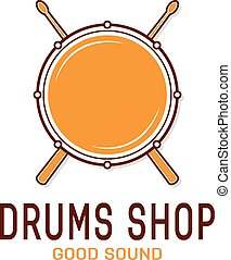 Vector drum icon with sticks. Drum school logo