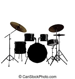 vector Drum kit. Isolated on white