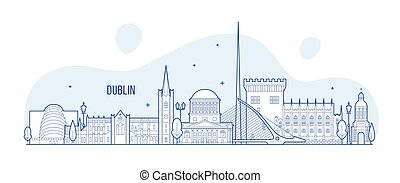 vector, dublín, ciudad de edificios, contorno, irlanda