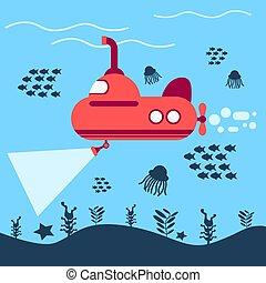 vector, duikboot, zee, illustratie, rood