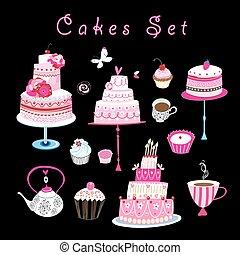 vector, dulce, pasteles, conjunto, pasteles