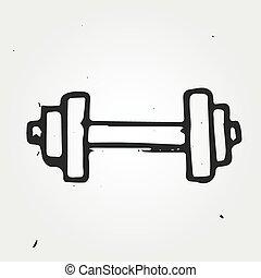 Vector dumbbell, hand drawn sports equipment
