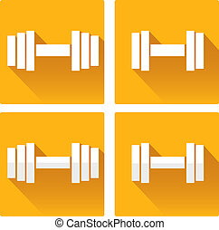 vector dumbbell icon. vector orange gym icon