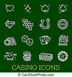 vector, dune lijn, iconen, van, casino, pook, geluksspelletjes