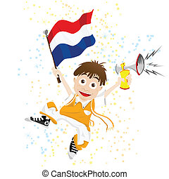 Dutch Sport Fan with Flag and Horn