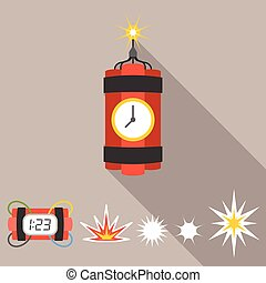 Vector dynamite icons set, flat design