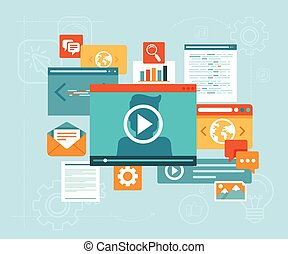 Vector e-learning concept in flat style - digital content ...