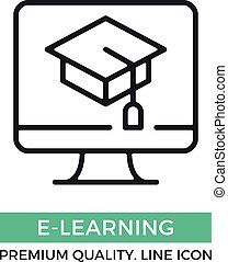 Vector e-learning icon. Computer and graduation cap on screen. Premium quality graphic design elements. Modern sign, linear pictogram, object, outline symbol, simple thin line icon