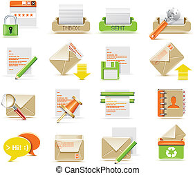 Vector e-mail icon set - Set of simple e-mail related icons