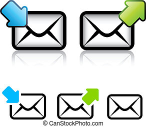 vector, e-mail, sobre, icono