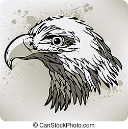 vector, eagle., ilustración