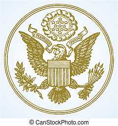 Vector Eagle Seal - Eagle national seal. Easy to edit or...