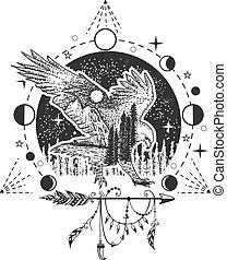 Vector eagle tattoo or t-shirt print design