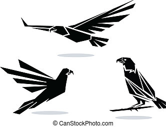 Vector eagles - Vector black silhouettes of birds of prey