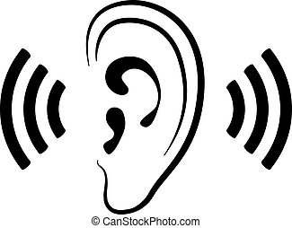 Vector ear icon, silhouette of ear and sound waves