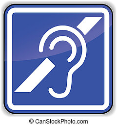 Vector ear sign - Vector illustration of hard of earing blue...