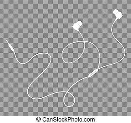 Vector earphones white on transparent back ground - Vector...