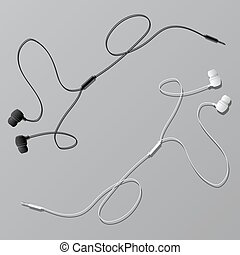 Vector earphones with connector and switch controller. Isolated objects in white and black. Flat lay design