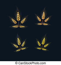 Vector Ears of Wheat Set on Dark Background