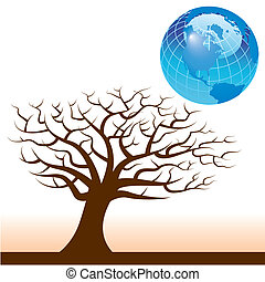 Vector earth and tree background