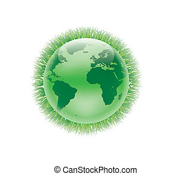 Vector earth globe Design with grass