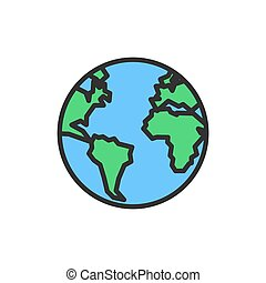Vector earth, globe, planet flat color line icon.