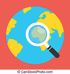 Vector Earth Globe Search Icon